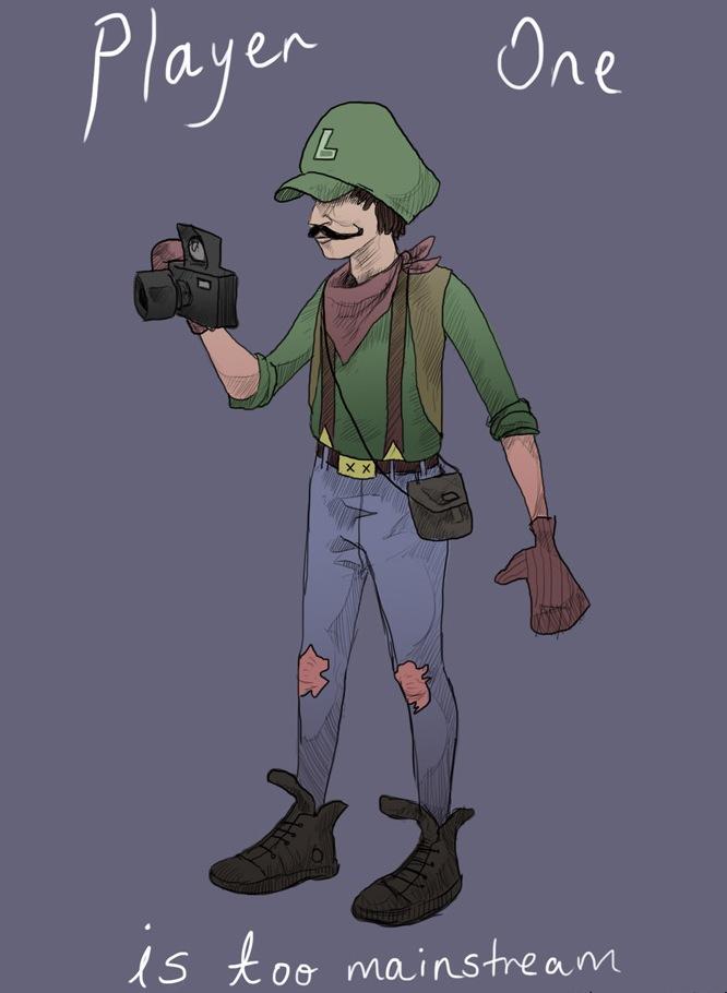 Hipster Luigi. .. Mario: I'm taking player 1 Luigi: Knock yourself out Mario luigi Boobs your Mom