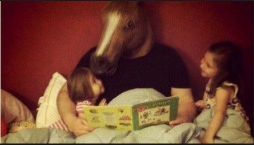 horse head mask. happy family. horse head mask