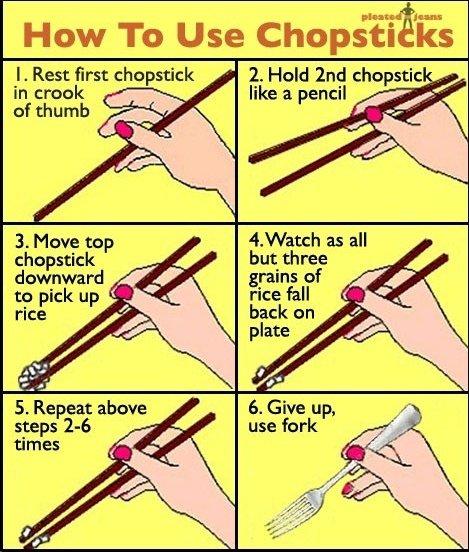How to use Chopsticks. . Jens: How To Use Chopsui ks I. Rest first chopstick I Hold Ind chopstix in creek like a pencil digg! O of thumb 3. Move tap / Vetch as  chopsticks