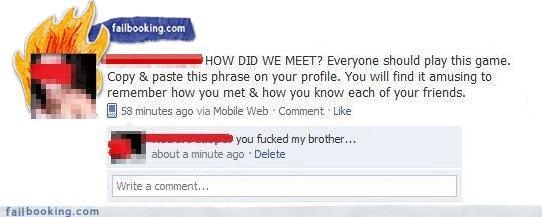 how we met. funny status. facebook status