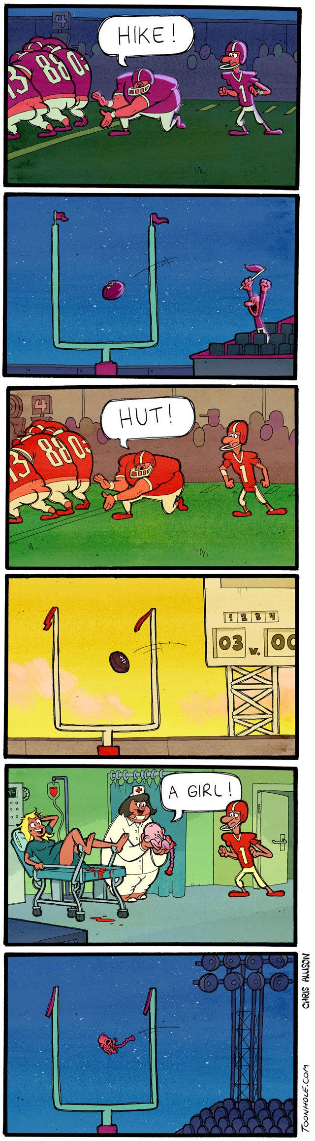 hut..hike!. MVP! MVP! MVP!! moar at Toonhole.com. toonhole toon cartoon comic webcomic football kicker hike hut baby punt