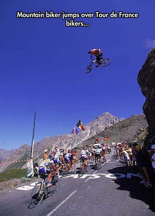 lance got his balls back. . Mountain biker jumps over Tour France bikers.... And the mountain biker lost his shortly after. Tour de faggot