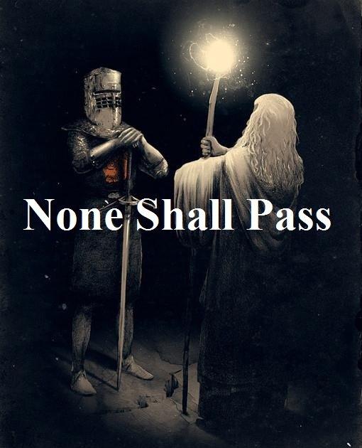 Legendary Standoff. And the world stood still.... black knight gandalf You shall Not pass