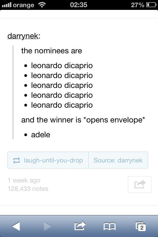 Leonardo. . the nominees are I leonardo dicaprio leonardo dicaprio leonardo dicaprio leonardo dicaprio leonardo dicaprio and the winner is 'opens envelope' I ma Leonardo the nominees are I leonardo dicaprio and winner is 'opens envelope' ma