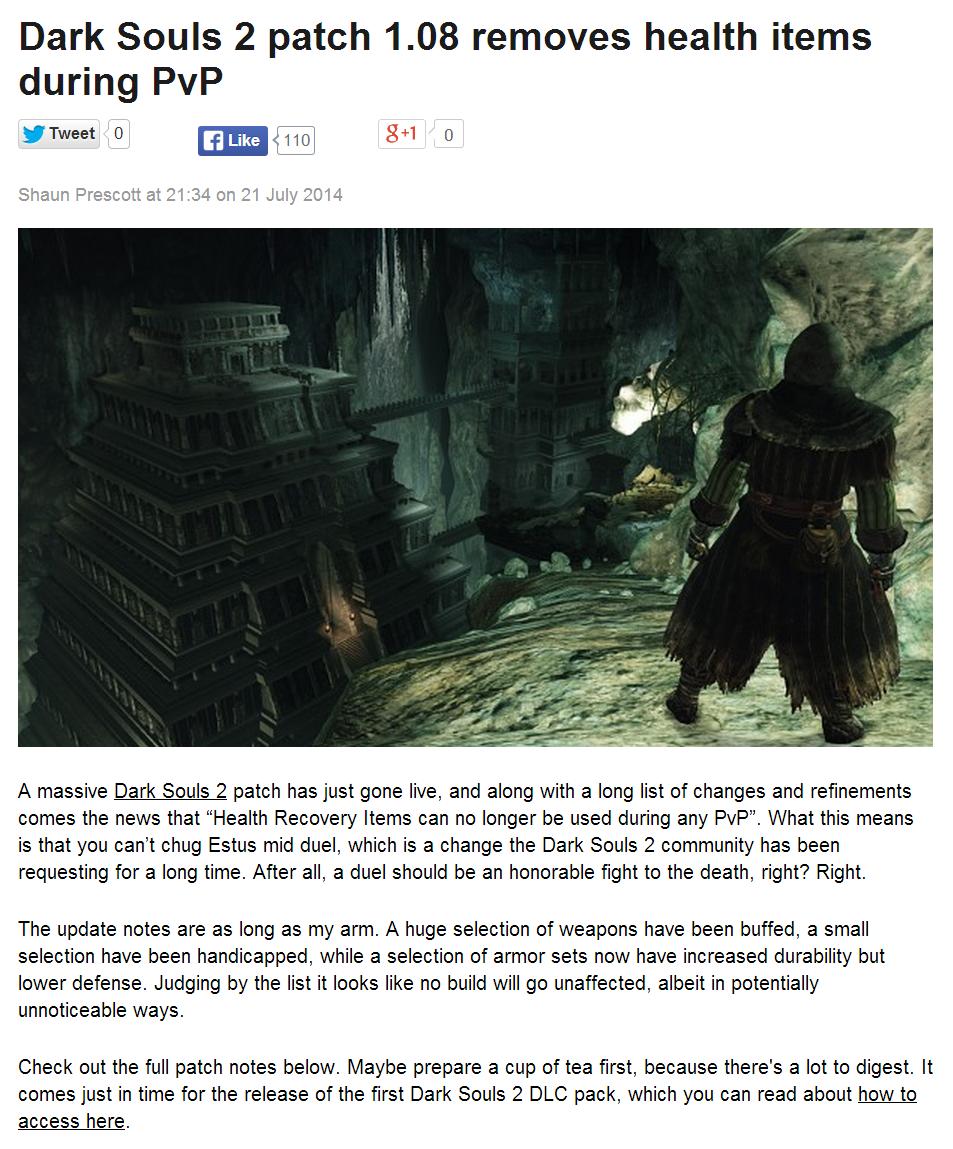 Link in description. www.pcgamer.com/2014/07/22/dark-souls.... Dark Souls 2 patch 1. 08 removes health items during Pvp Twyst o o Shaun Prescott at 21 :34 on 21 dark souls 2 dark souls Dark Souls 2 git gud