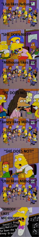Lisa likes nelson. .. poor milhouse Lisa likes nelson poor milhouse