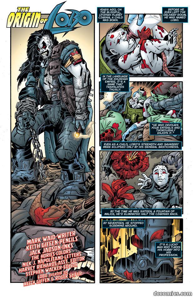 lobo's story part 1. heres the story of lobo's origin i have a ton more origin comics on dc<br /> heroes and villians, i'll look into finding marvel origi lobos story origins