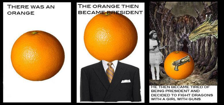 Lol wut?. Oranges.. FRUIT RO DA!!! orange with Guns