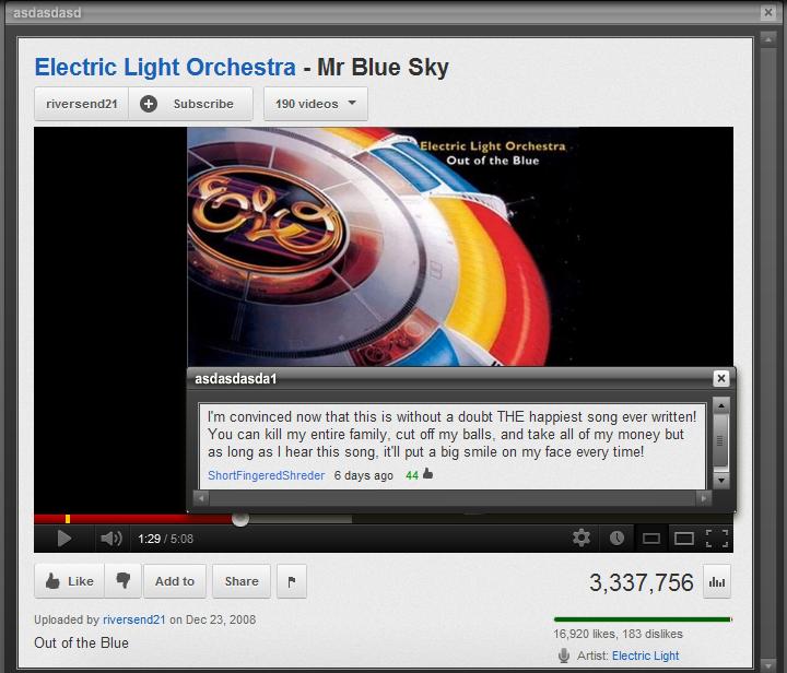 "lol'd. . asdasdasd Electric: Light Orchestra - Mr Blue Sky asdasdasdasd I' m newt that title is l! l! e THE MINI written! mit can kill : entire cut cuff ."" and  lol'd asdasdasd Electric: Light Orchestra - Mr Blue Sky asdasdasdasd I' m newt that title is l! e THE MINI written! mit can kill : entire cut cuff "" and"