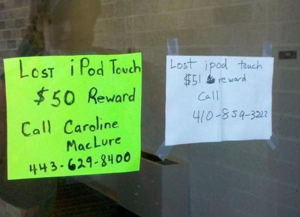Lost Ipod Touch Reward. Help Feed The Troll.com NOT MINE!!.. haha thats a good idea im gonna try that Ipod reward