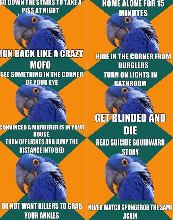 "Paranoid Parrot 2. Squidward suicide story >> . Ell Mellem THE sums main Hangman; ET HIGHT miimii) 2 if': W Moll "" ll ""mm Hll] E lit THE comma "",  meme paranoid parrot"