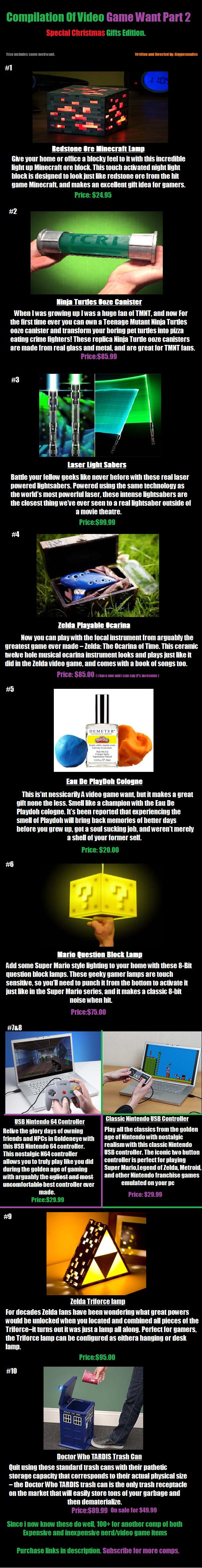 Part 2 Video game want comp. Ore Block www.thinkgeek.com/product/eea7/?cpg=cj&ref=&CJURL=&CJID=3363563 Ooze Canister www.etsy.com/listing/108649032/ vidja games want