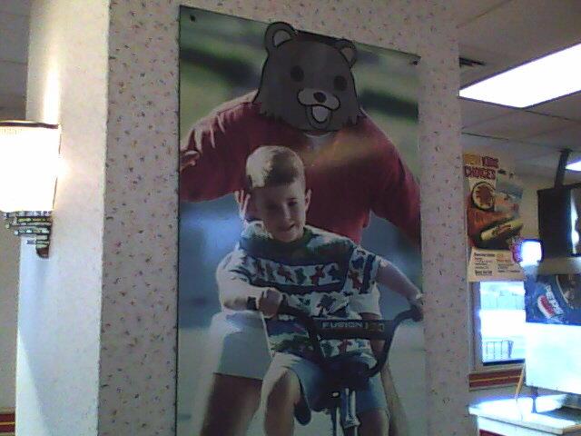 Pedobear at Tacobell. Is Taco Bell no longer sacred?.. It's a KFC/TacoBell. pedo pedobear Taco tacobell children RUN troll trolling vandalism