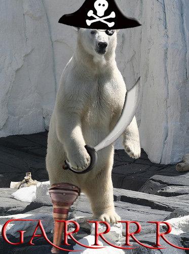 Pirate Polar Bear. Polar bears go GRRRRR<br /> Pirates go ARGGHHH<br /> Pirate Polar Bears go GAAAARRRR<br /> and he be stealin' your green th Gar polar pirate pvt toucher