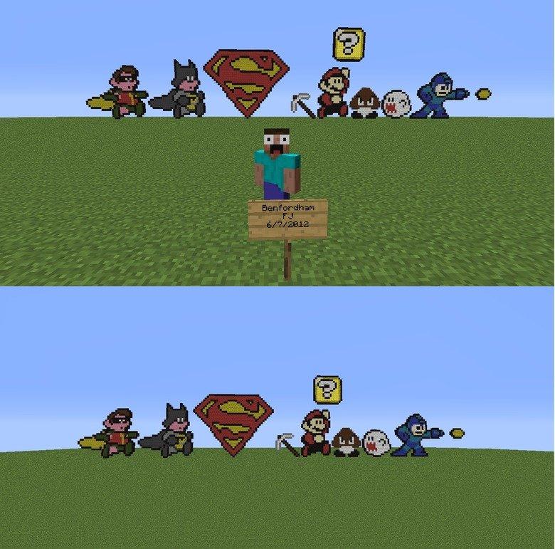 Pixel Art. .. This isnt even funny..... jesus christ ! Megaman Mario Superman batman robin