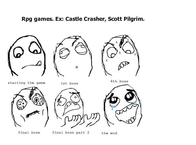 Playing though an rpg. some fresh oc. Rpg games. Ex: Castle Crasher, Scott Pilgrim. final boss final boss pare 2 the end. scott pilgrim The Game