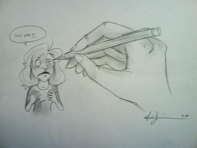 Poke. I seemed to have poked my own eye, hmm..... poke drawings ca