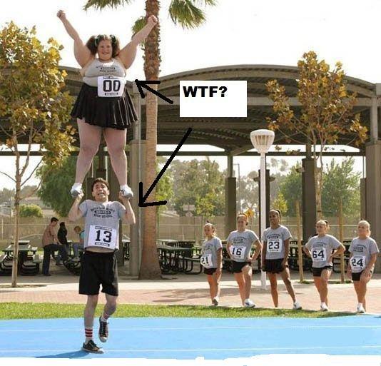 Poor Guy. Just look at the picture.. Broken ankle in 3....2...1.... Fat Girl Cheerleader poor guy