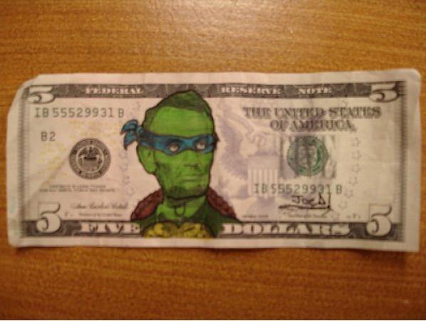 Presidential Mutant Ninja Turtle. . tatl! lla, 13 s President teenage Mutant Ninja Turtle Money Dollar abraham lincoln