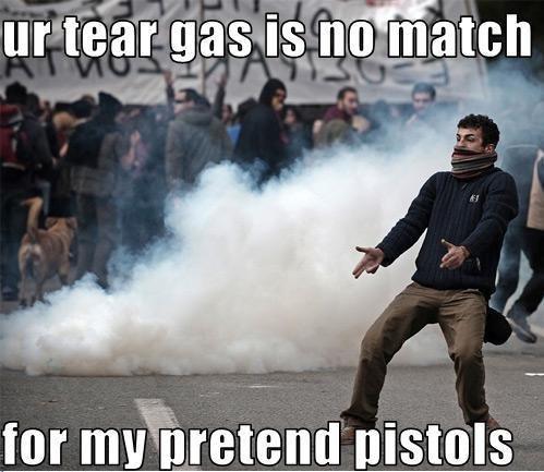 Pretend Guns. OH NO! Not the pretend guns!. for , [minis. , he's even dual wielding, we're Guns tear Gas Stupid Crazy