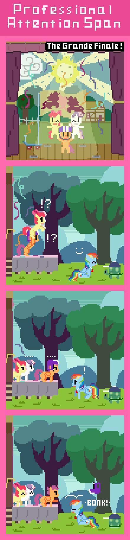 "Professional Attention Span. via zztfox.deviantart.com/art/Professiona... Rainbow Dash:""I promise to stay focused this time!"" CMC:""Promise?"" My Little Pony Cutiemark Crusad Rainbow dash retro comic"