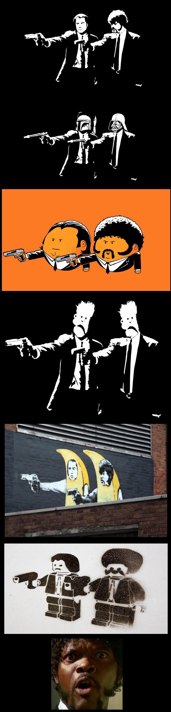 Pulp Fiction Parody Comp. A comp of pulp fiction parody.. dude you forgot Daft pulp :( Pulp fiction comp orange Banana Bansky star wars parody