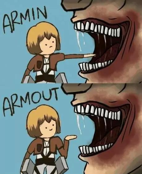 PUN PUN PUN~!. titan pun~ shingeki no kyojin 10/10 would watch.. Armoff. pun Anime manga funny