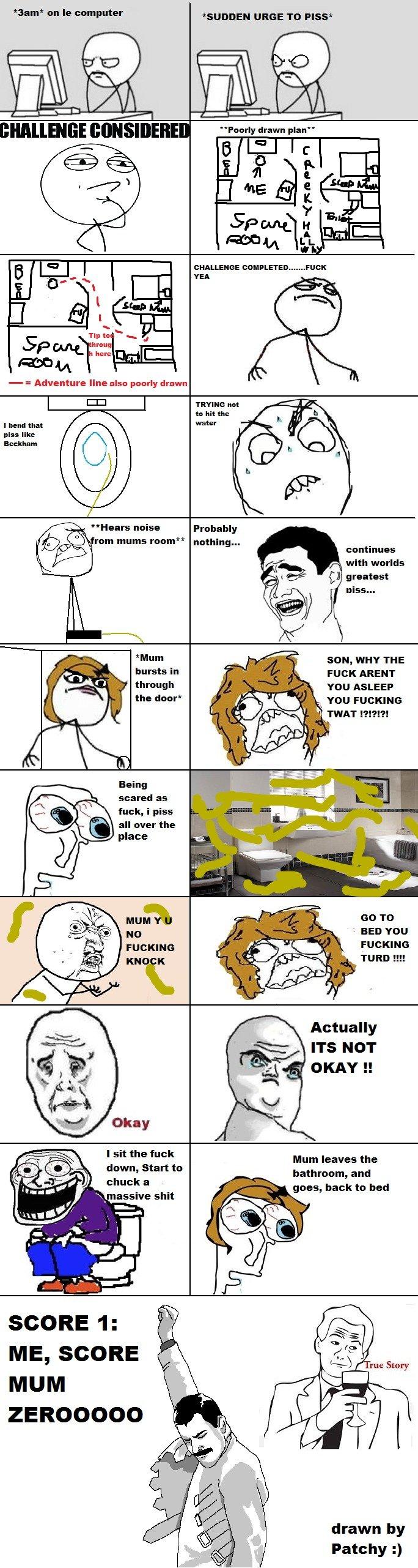 Taking a piss....... true story..... piss mum Scared rage