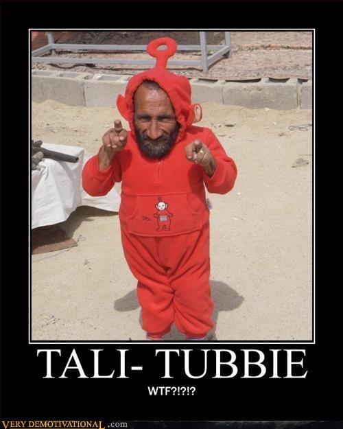 Tali-tubbies?. HIDE THE CHILDREN.. The top of his head is a beacon. RUN! taliban children Midgets Teletubbies lol