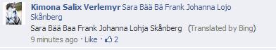 Thanks Bing. . Steinberg Sara Baa Baa Frank Johanna Stenberg {Translated by Bing) 9 minutes ago . Like . , 2 Q karima Salim: Sara Biisi Big Frank Johanna Lam. bluh funny bing facebook fail