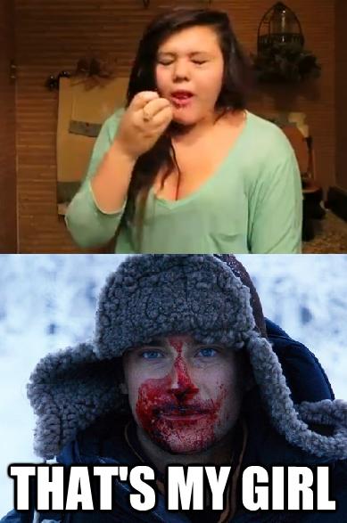 That's my girl!. . Giovanna Plowman Bear Grylls tampon sucker period DUMB ASS