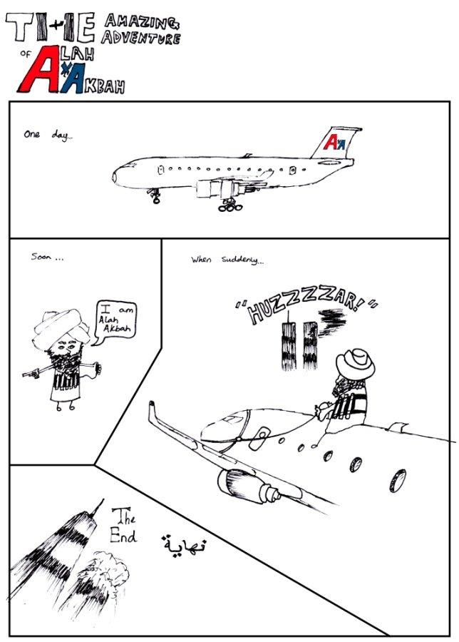 The Amazing Adventures of Alah Akbah. Alah Akbah embarks on an amazing adventure, to create a scene so big that it dwarfs all of America's previous 'History'.. wtc plane hillarity arab terrorist OC comic
