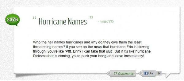 "The Challenge. First to roll quads gets to name the next hurricane.. H Hurricane Names M "". irw. f,; names? mute hurricane an mummy mum. ytou' relays 'Pitt. Eri The Challenge First to roll quads gets name the next hurricane H Hurricane Names M "" irw f ; names? mute an mummy mum ytou' relays 'Pitt Eri"