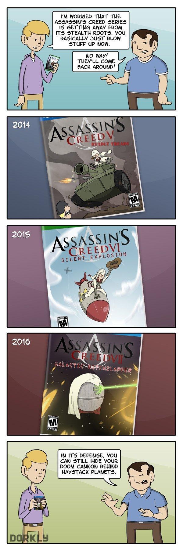 "The Future of Assassin's Creed. . PM THAT TUE ASSASIN' {REED teii t! arrt"" raa AWAY FRAM querr BLUFF STU"" LIP HUN. IN rrs , 'FEM CAN STILL HIDE VGUI DOOM IMBHDH funny comic Dorkly new Cars Crash games Money Guns fire Pokemon doge meme black k lol"