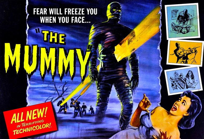 The Mummy (1959). ...IN TERRIFYING TECHNICOLOR!. FEAR WILL FREEZE YOU WHEN YOU FACE.... lol technicolor Mummy Terrifying techn wallpaper