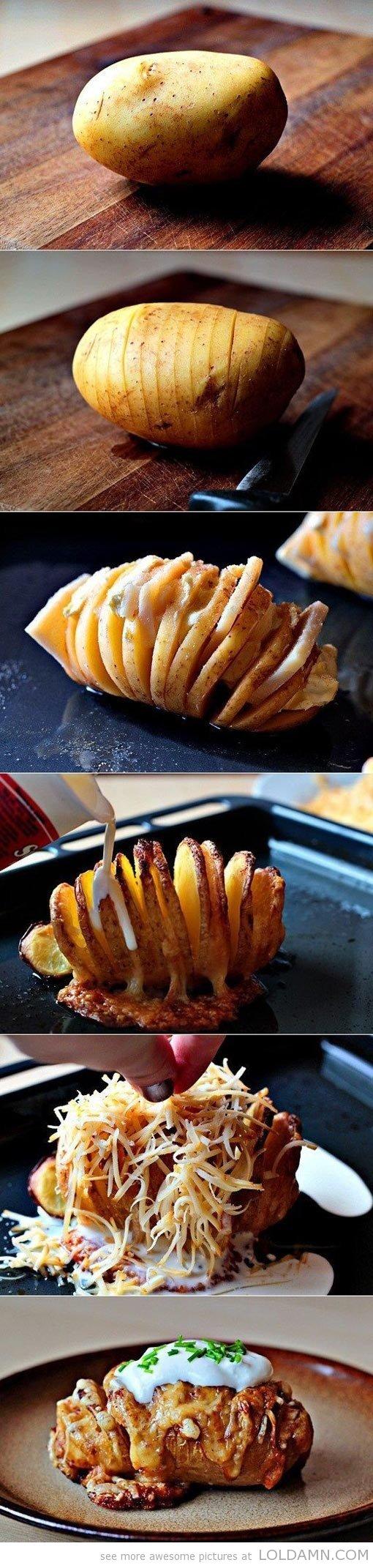 The perfect baked potatoe. You're welcome. potatoe baked Food