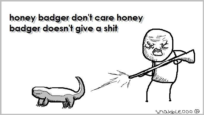 The Honey Badger. Honey badger don't care, honey badger don't give a . My Tumblr: . honey badger don' t care honey badger doesn' t give a shit honey badger don