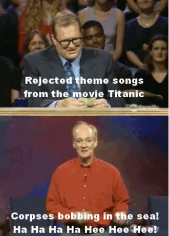"Titanic. . from the av} Titanic Corpses In Eta sea! Ha Ha Ha Ha Hee Hee !. ""Corpses bobbing in the sea! 12 dollars to see them in 3D!"" Titanic from the av} Corpses In Eta sea! Ha Hee ! ""Corpses bobbing in 12 dollars to see them 3D!"""