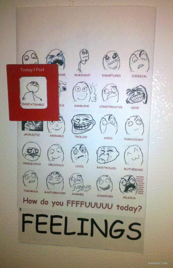 Today I feel. A chart based on how you feel!. humorpix. corn. 2010 was a disgusting year. feelings fuuuuu napkins