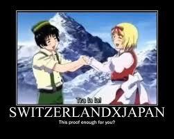 Tra la la~. Because Hetalia.. Japanandswitzerl