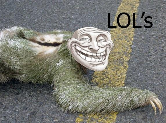TROLL SLOTH. TROLL SLOTH.. that face...god damn, i fed it troll sloth