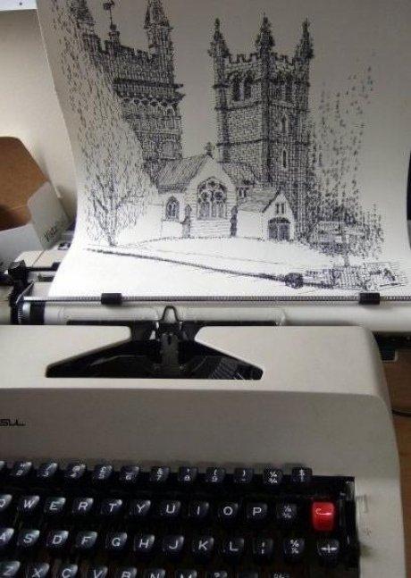 typewritter art. .. 1 - Print out picture 2 - Set it next to typewrite 3 - ??? 4 - Profit. Art