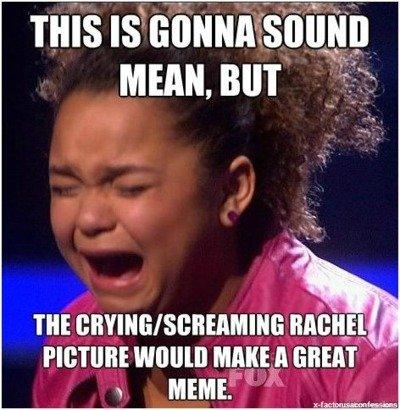 X factor shocker. If you haven't seen the elimination here it is www.youtube.com/watch?v=xAF6QJxWLjE but wow it is bad. x factor Rachel Crow cry meme